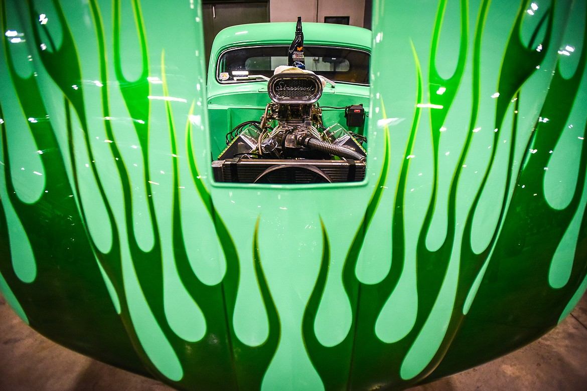 Green flames adorn the hood of a 1951 Ford Pickup owned by Billy Vlahos of Kalispell at the Glacier Street Rod Association's 40th annual car show at the Flathead County Fairgrounds on Saturday, Oct. 9. (Casey Kreider/Daily Inter Lake)