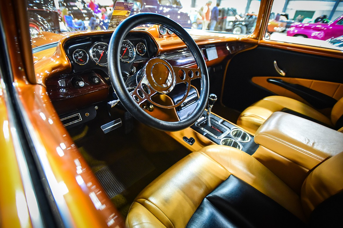 A look inside a 1957 Chevy 210 owned by Steve Twet of Kalispell at the Glacier Street Rod Association's 40th annual car show at the Flathead County Fairgrounds on Saturday, Oct. 9. (Casey Kreider/Daily Inter Lake)