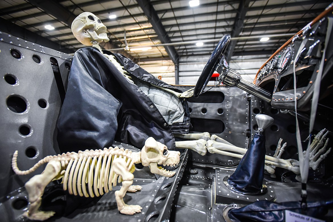 A skeletal Halloween display inside a 1923 Willy's at the Glacier Street Rod Association's 40th annual car show at the Flathead County Fairgrounds on Saturday, Oct. 9. (Casey Kreider/Daily Inter Lake)