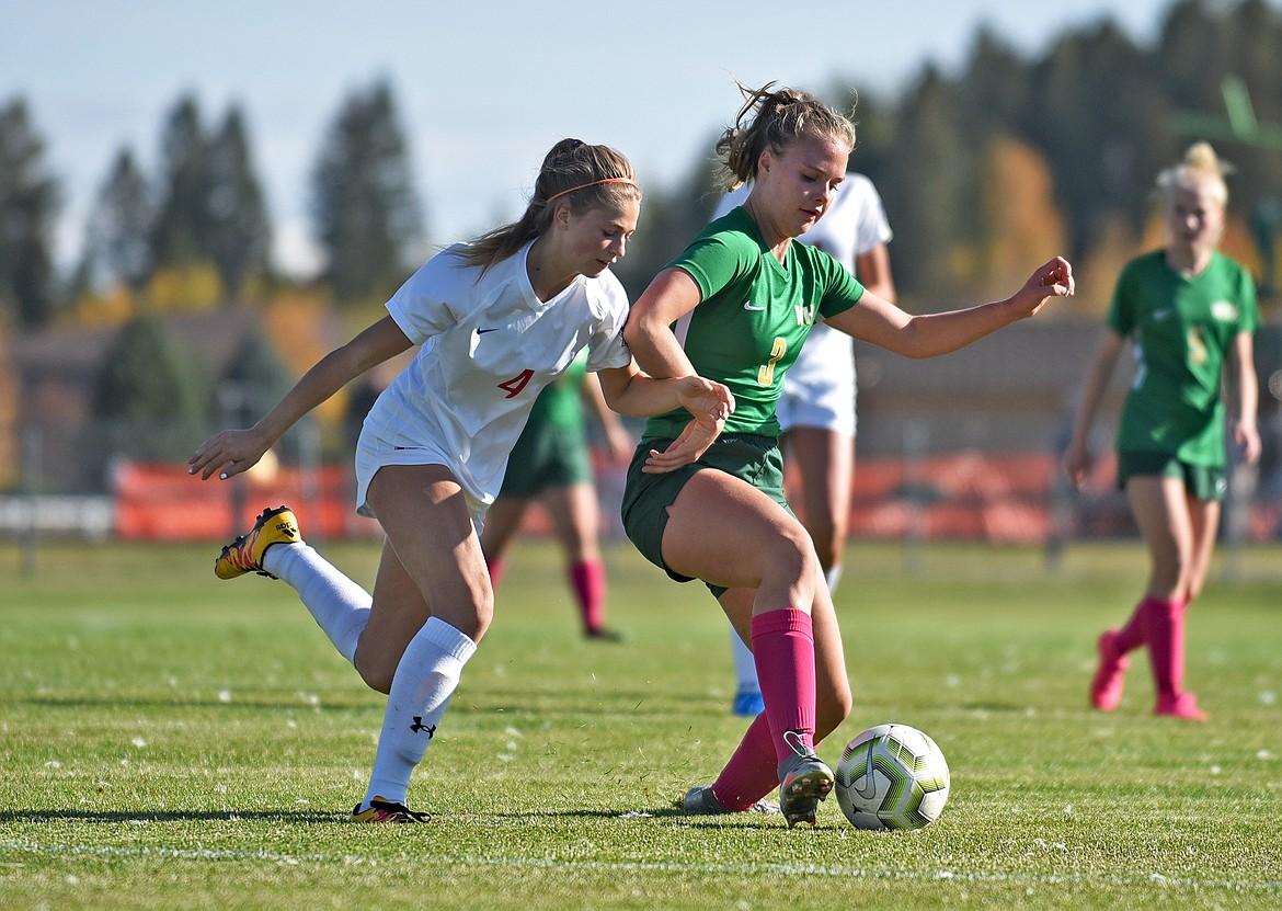 Whitefish midfielder Olivia Genovese works to keep possession of the ball during a game against Bigfork in Whitefish on Thursday. (Whitney England/Whitefish Pilot)