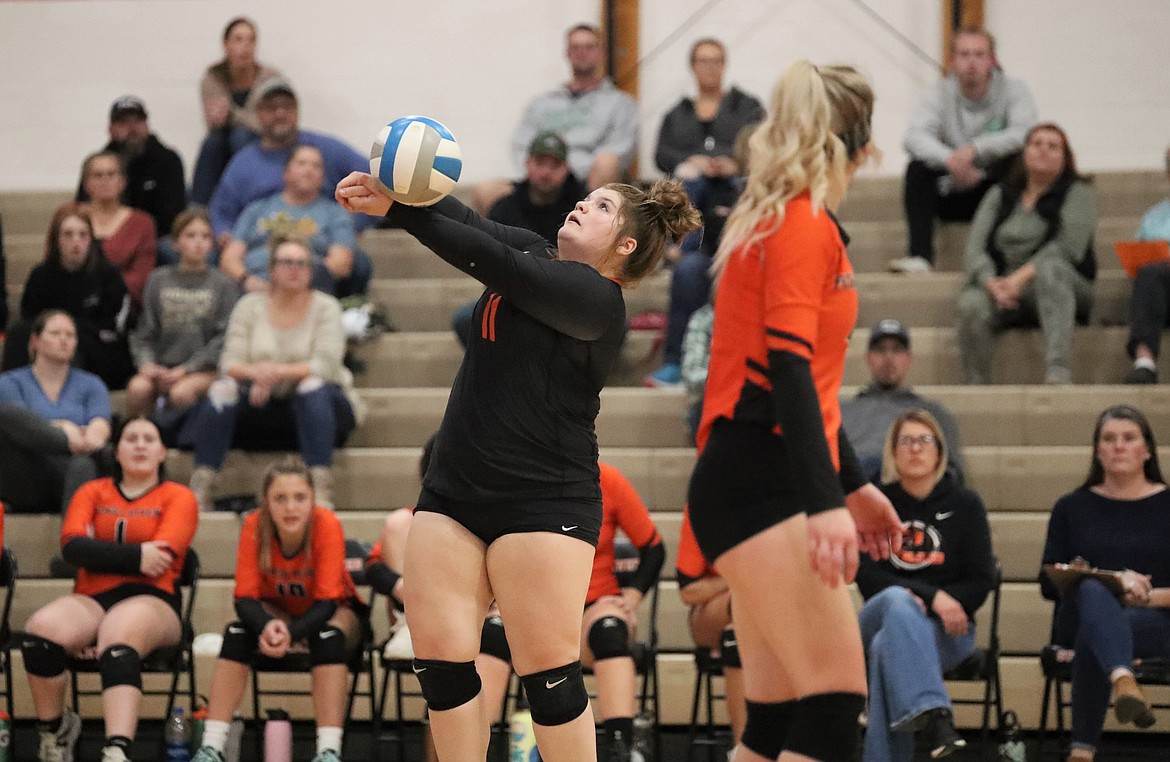 Abigail Shockey hits a ball back over the net last Wednesday.